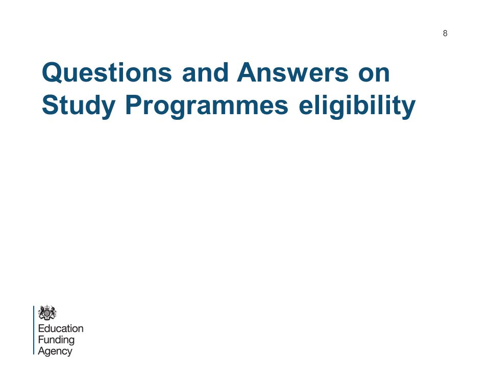 Questions and Answers on Study Programmes eligibility 8
