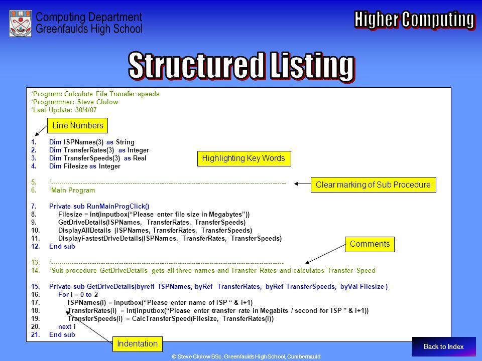 'Program: Calculate File Transfer speeds 'Programmer: Steve Clulow 'Last Update: 30/4/07 1.Dim ISPNames(3) as String 2.Dim TransferRates(3) as Integer