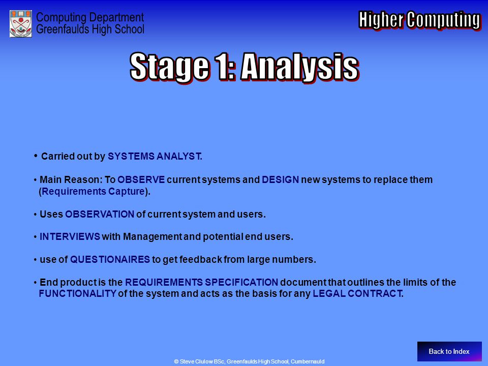 Stage 1 - Analysis Carried out by SYSTEMS ANALYST.