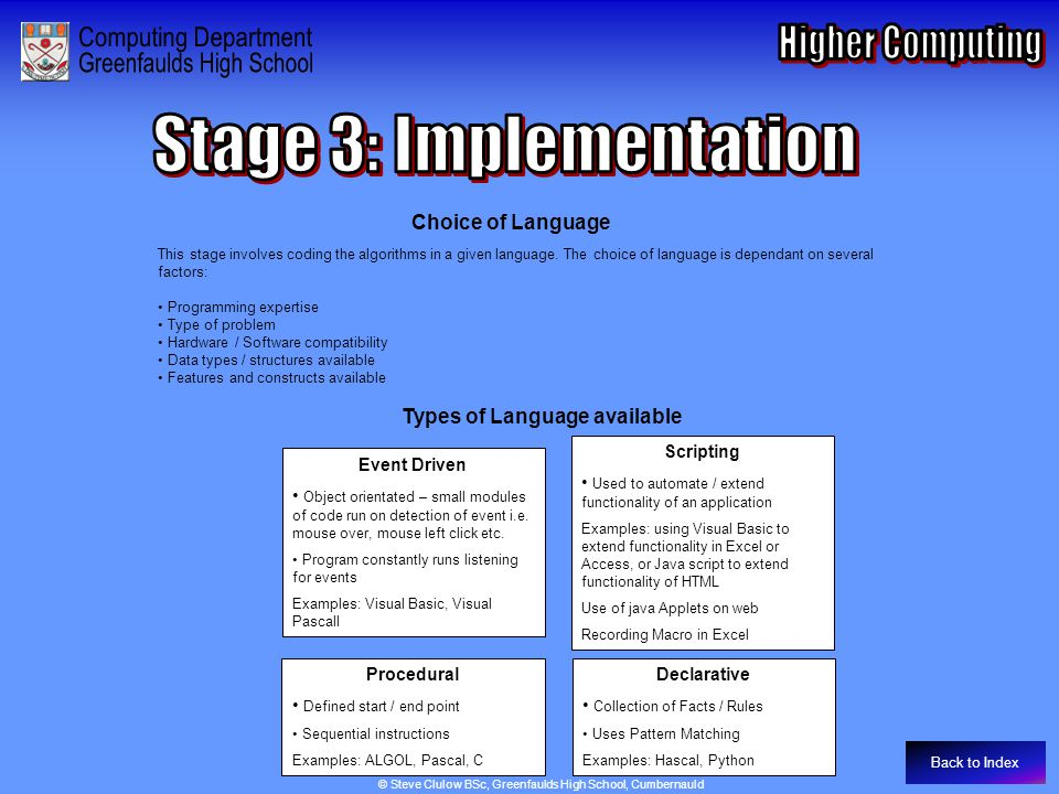 Stage 3: Implementation – Choice of Language Choice of Language This stage involves coding the algorithms in a given language. The choice of language