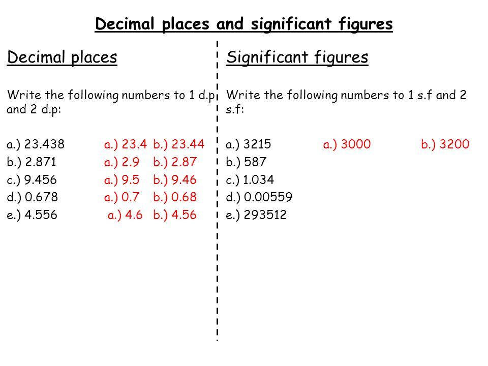 Decimal places and significant figures Decimal places Write the following numbers to 1 d.p and 2 d.p: a.) 23.438a.) 23.4b.) 23.44 b.) 2.871a.) 2.9b.)