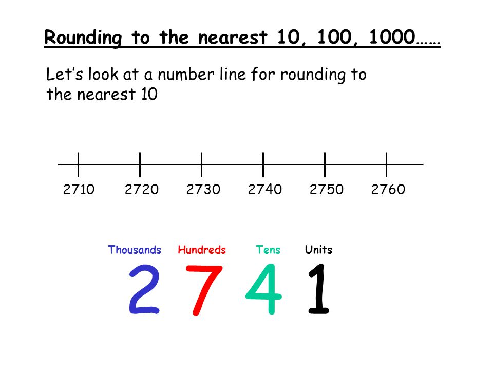 Rounding to the nearest 10, 100, 1000…… Round the following numbers to the nearest: a.) 10b.) 100c.) 1000 1.) 4368a.) 4370b.) 4400c.) 4000 2.) 1027a.) 1030b.) 1000c.) 1000 3.) 8767a.) 8770b.) 8800c.) 9000 4.) 6111a.) 6110b.) 6100c.) 6000 5.) 3284a.) 3280b.) 3300c.) 3000 6.) 2192a.) 2190b.) 2200c.) 2000 7.) 7451a.) 7450b.) 7500c.) 7000 8.) 9073a.) 9070b.) 9100c.) 9000 9.) 5456 10.) 9672