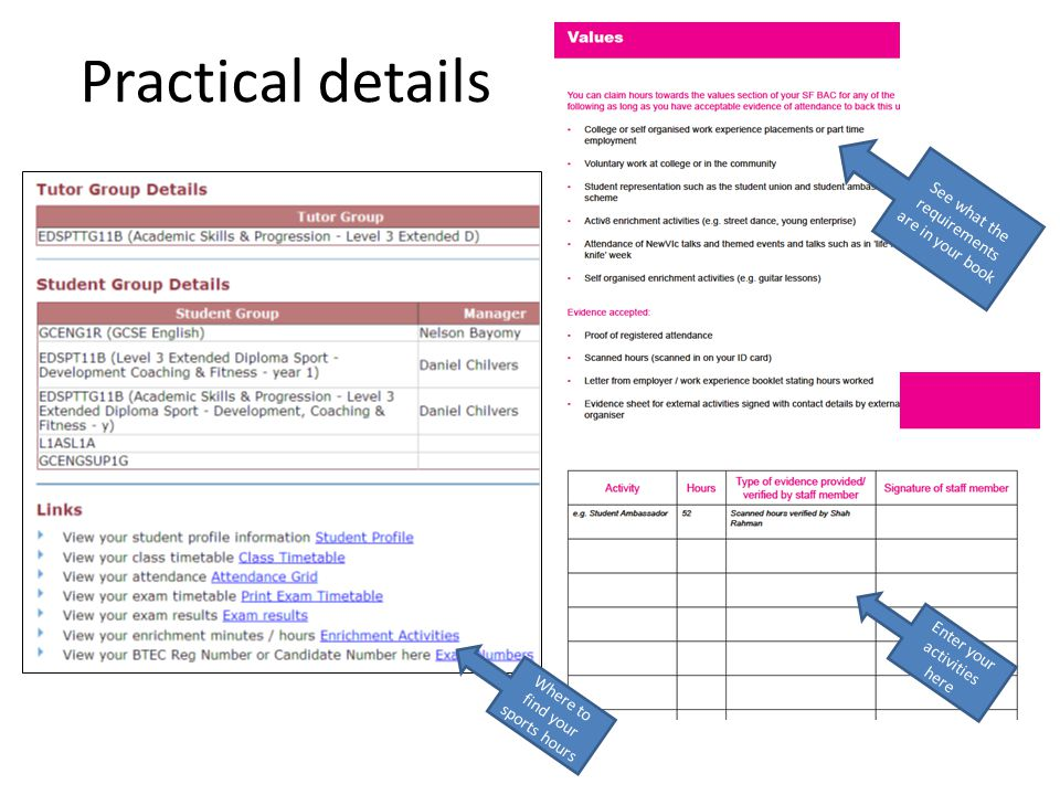 Practical details Enter your activities here See what the requirements are in your book Where to find your sports hours