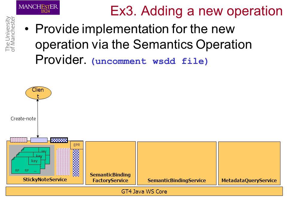 Ex3. Adding a new operation Provide implementation for the new operation via the Semantics Operation Provider. (uncomment wsdd file) GT4 Java WS Core