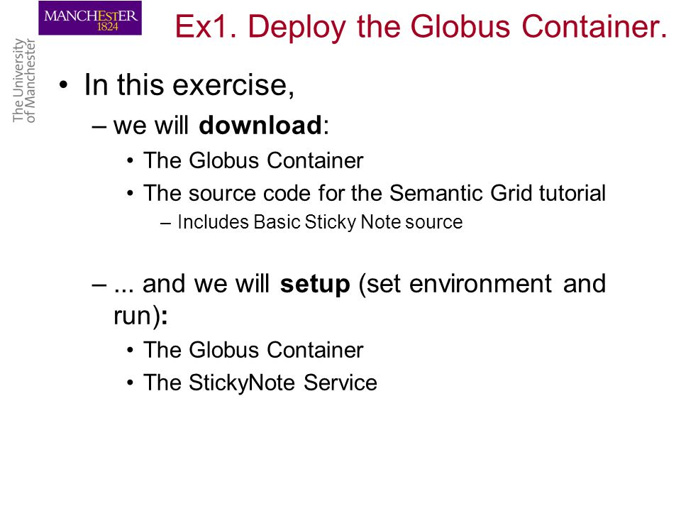 Ex1. Deploy the Globus Container.