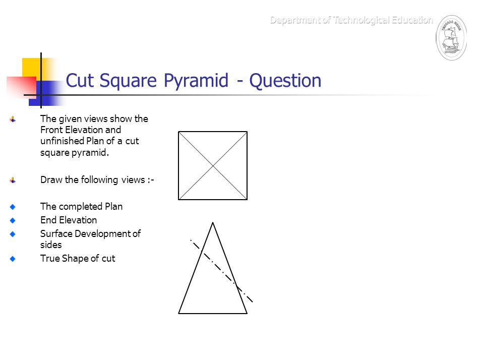 Cut Square Pyramid - Question The given views show the Front Elevation and unfinished Plan of a cut square pyramid. Draw the following views :- The co