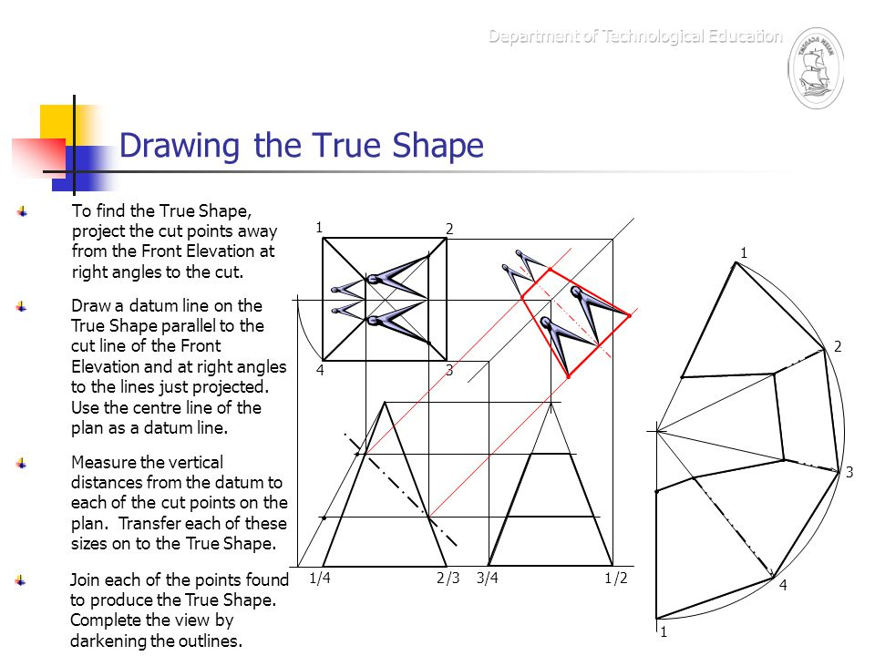 Drawing the True Shape To find the True Shape, project the cut points away from the Front Elevation at right angles to the cut. Draw a datum line on t