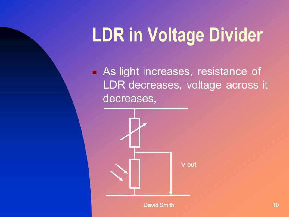 David Smith10 LDR in Voltage Divider As light increases, resistance of LDR decreases, voltage across it decreases, V out