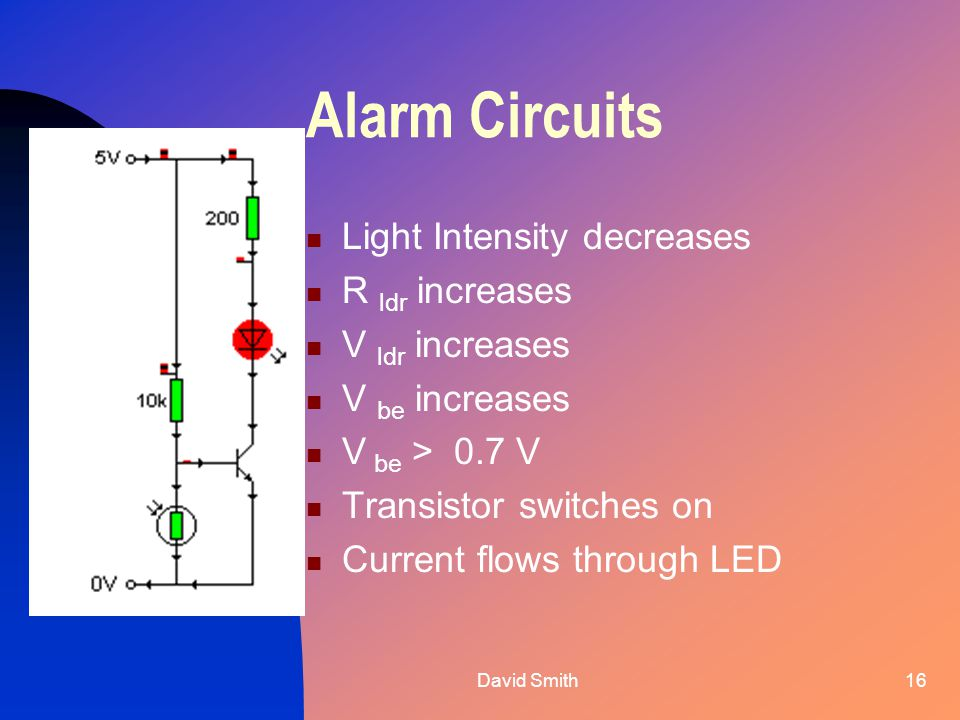 David Smith16 Alarm Circuits Light Intensity decreases R ldr increases V ldr increases V be increases V be > 0.7 V Transistor switches on Current flows through LED