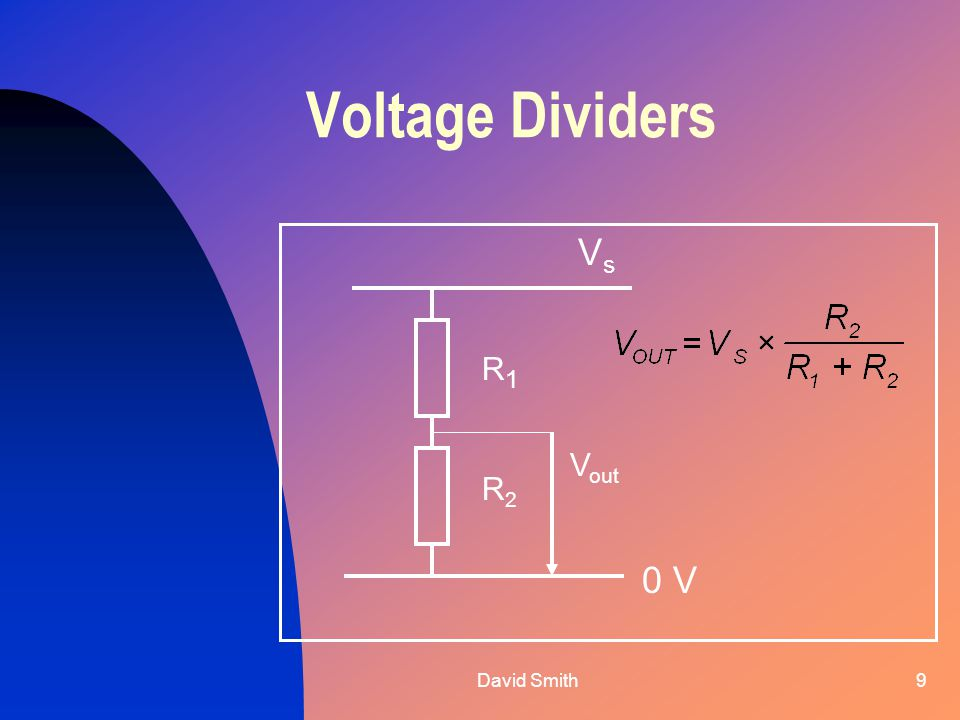 David Smith9 Voltage Dividers VsVs 0 V R1R1 R2R2 V out