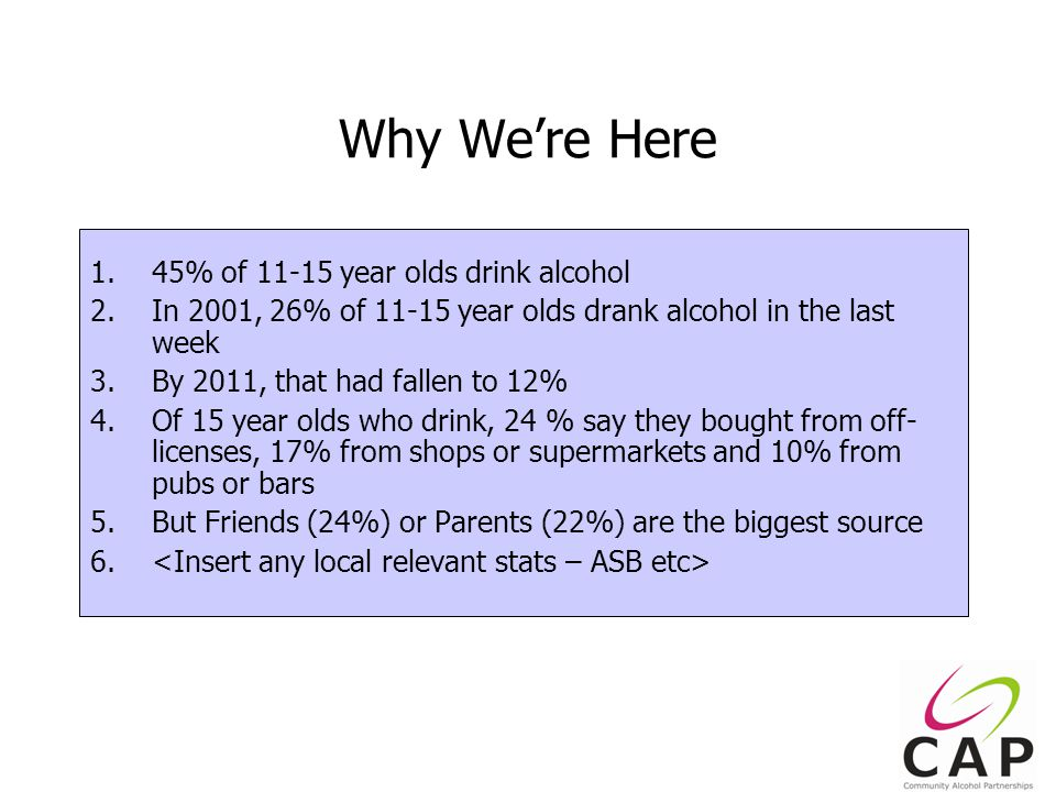 3 Why We're Here 1.45% of 11-15 year olds drink alcohol 2.In 2001, 26% of 11-15 year olds drank alcohol in the last week 3.By 2011, that had fallen to 12% 4.Of 15 year olds who drink, 24 % say they bought from off- licenses, 17% from shops or supermarkets and 10% from pubs or bars 5.But Friends (24%) or Parents (22%) are the biggest source 6.