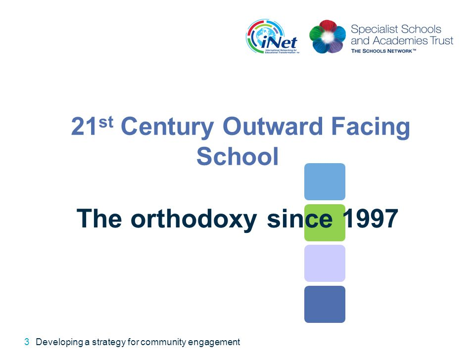 21 st Century Outward Facing School The orthodoxy since 1997 3Developing a strategy for community engagement