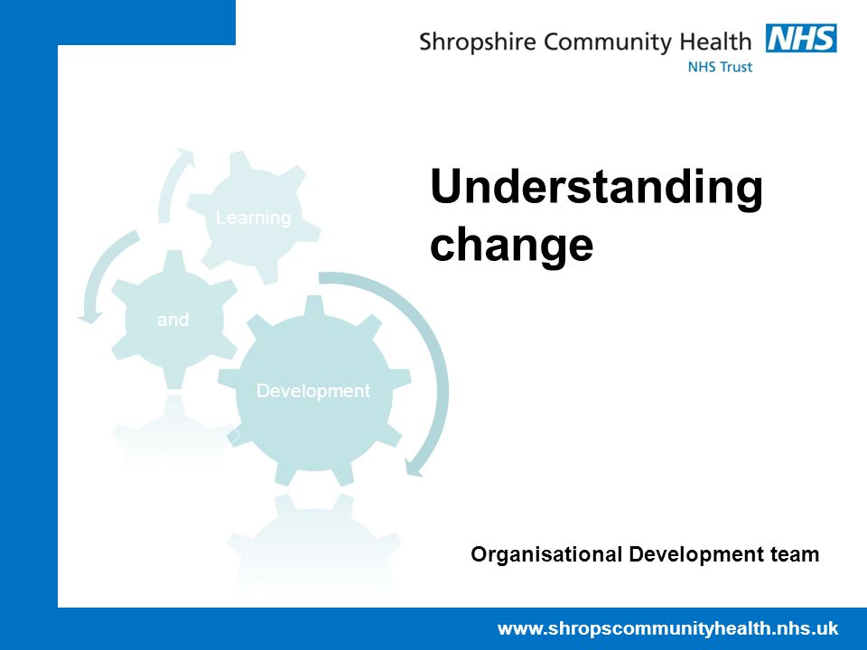 www.shropscommunityhealth.nhs.uk Understanding change Organisational Development team