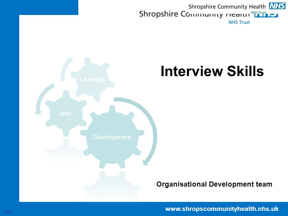 www.shropscommunityhealth.nhs.uk Interview Skills V01 Organisational Development team