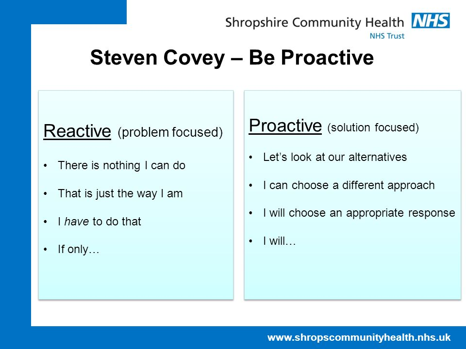 Steven Covey – Be Proactive Reactive (problem focused) There is nothing I can do That is just the way I am I have to do that If only… Reactive (problem focused) There is nothing I can do That is just the way I am I have to do that If only… Proactive (solution focused) Let's look at our alternatives I can choose a different approach I will choose an appropriate response I will… Proactive (solution focused) Let's look at our alternatives I can choose a different approach I will choose an appropriate response I will…