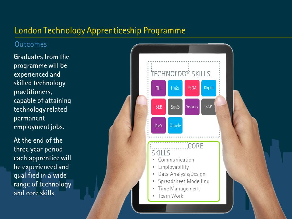 London Technology Apprenticeship Programme Outcomes Graduates from the programme will be experienced and skilled technology practitioners, capable of attaining technology related permanent employment jobs.
