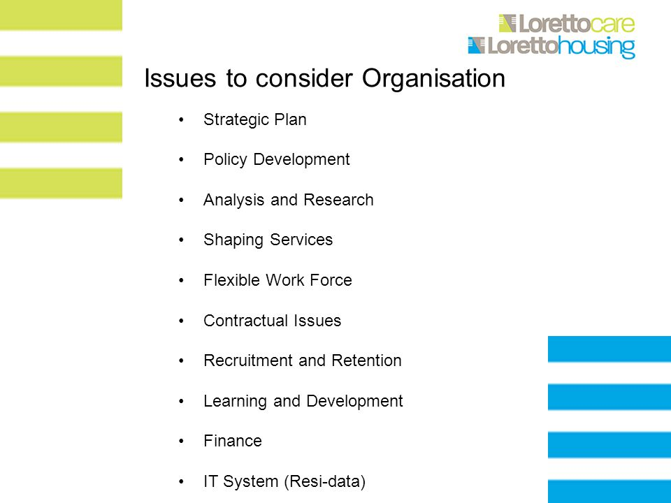 Issues to consider Organisation Strategic Plan Policy Development Analysis and Research Shaping Services Flexible Work Force Contractual Issues Recruitment and Retention Learning and Development Finance IT System (Resi-data)
