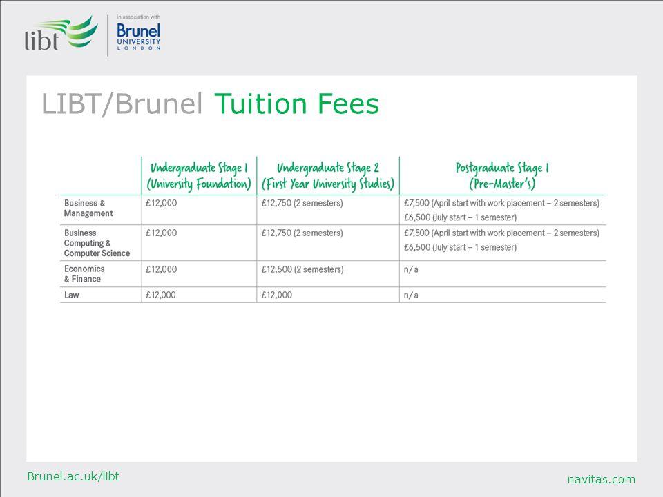 navitas.com Brunel.ac.uk/libt LIBT/Brunel Tuition Fees