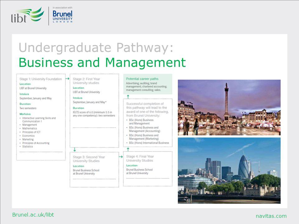 navitas.com Brunel.ac.uk/libt Undergraduate Pathway: Business and Management