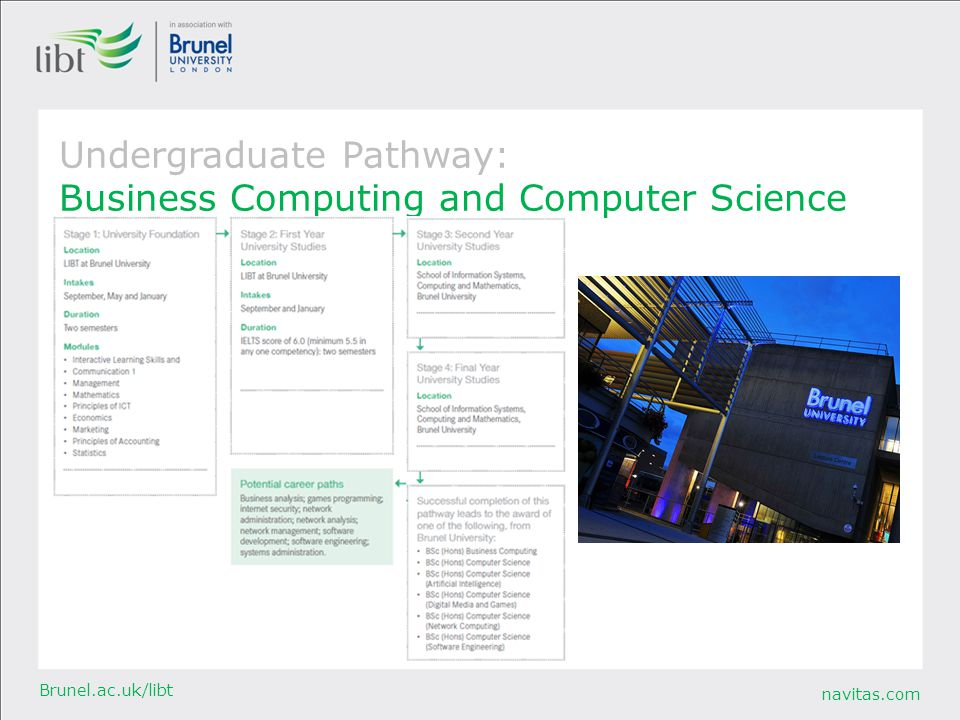 navitas.com Brunel.ac.uk/libt Undergraduate Pathway: Business Computing and Computer Science
