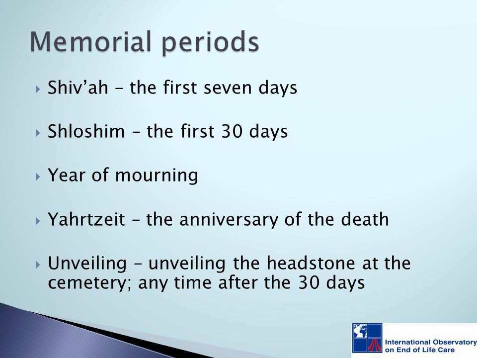  Shiv'ah – the first seven days  Shloshim – the first 30 days  Year of mourning  Yahrtzeit – the anniversary of the death  Unveiling – unveiling the headstone at the cemetery; any time after the 30 days