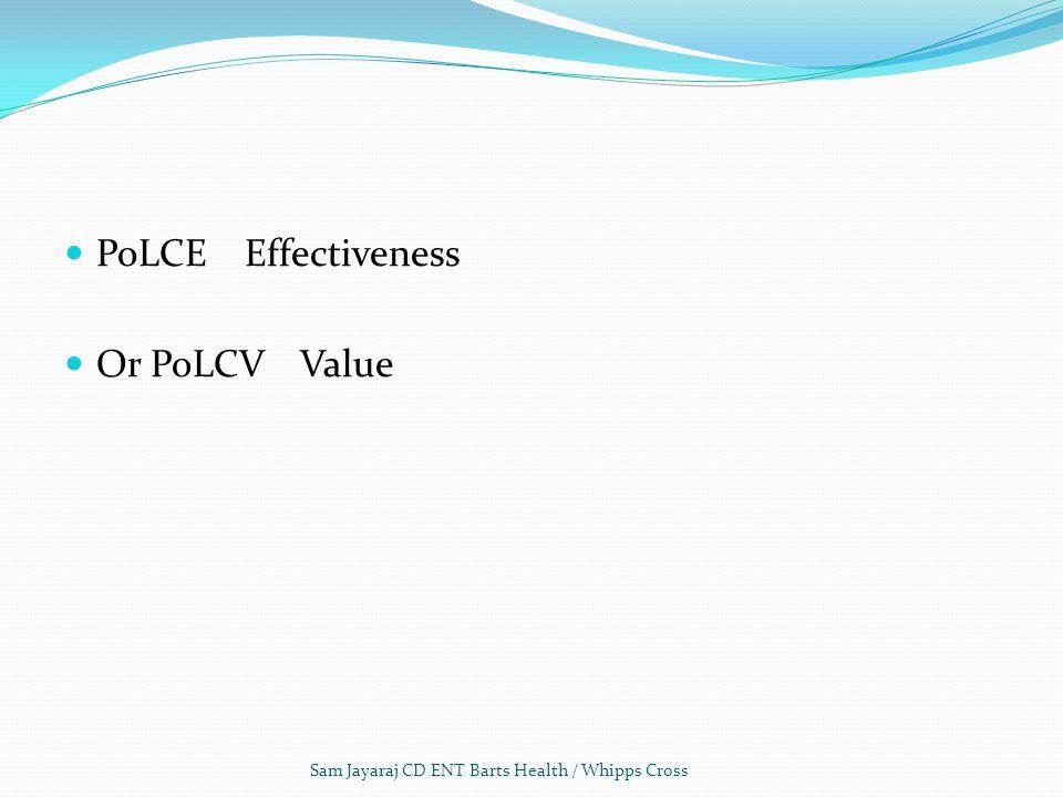 PoLCE Effectiveness Or PoLCV Value Sam Jayaraj CD ENT Barts Health / Whipps Cross