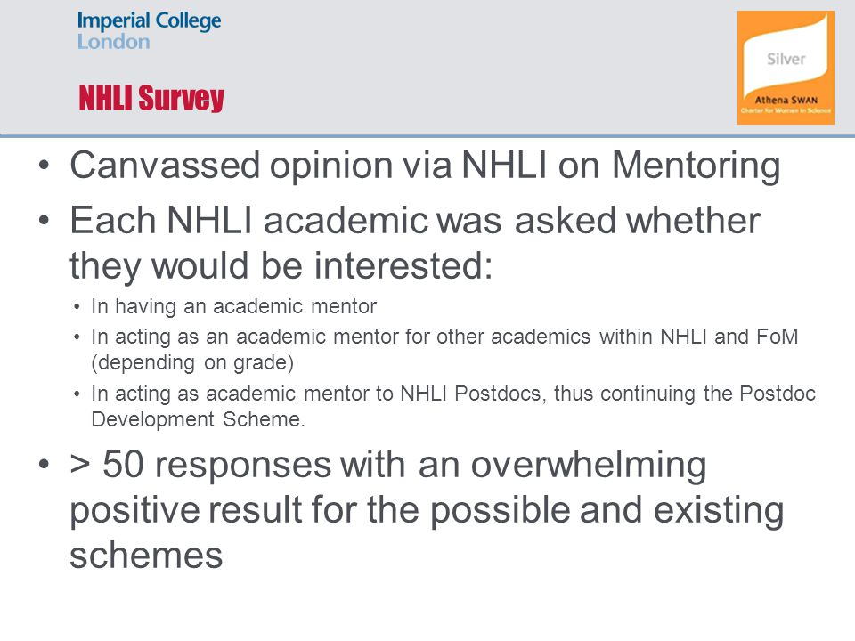NHLI Survey Canvassed opinion via NHLI on Mentoring Each NHLI academic was asked whether they would be interested: In having an academic mentor In acting as an academic mentor for other academics within NHLI and FoM (depending on grade) In acting as academic mentor to NHLI Postdocs, thus continuing the Postdoc Development Scheme.