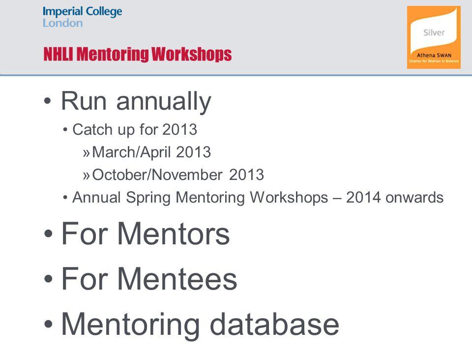 NHLI Mentoring Workshops Run annually Catch up for 2013 »March/April 2013 »October/November 2013 Annual Spring Mentoring Workshops – 2014 onwards For Mentors For Mentees Mentoring database