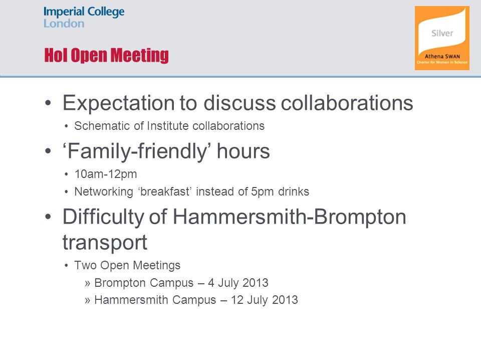 HoI Open Meeting Expectation to discuss collaborations Schematic of Institute collaborations 'Family-friendly' hours 10am-12pm Networking 'breakfast'