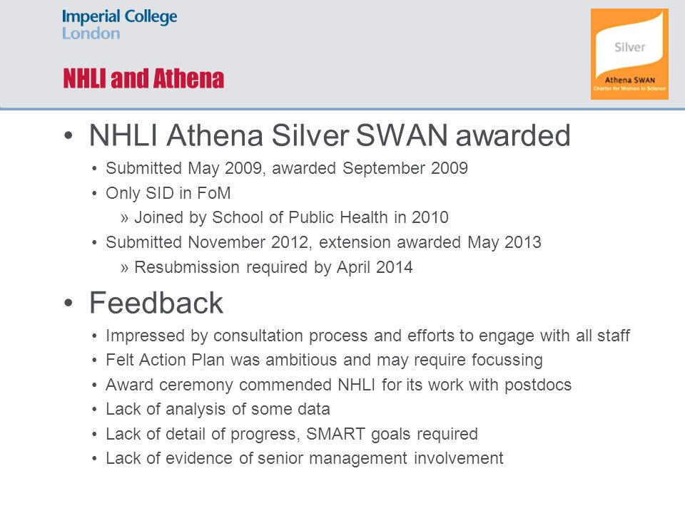 NHLI and Athena NHLI Athena Silver SWAN awarded Submitted May 2009, awarded September 2009 Only SID in FoM »Joined by School of Public Health in 2010