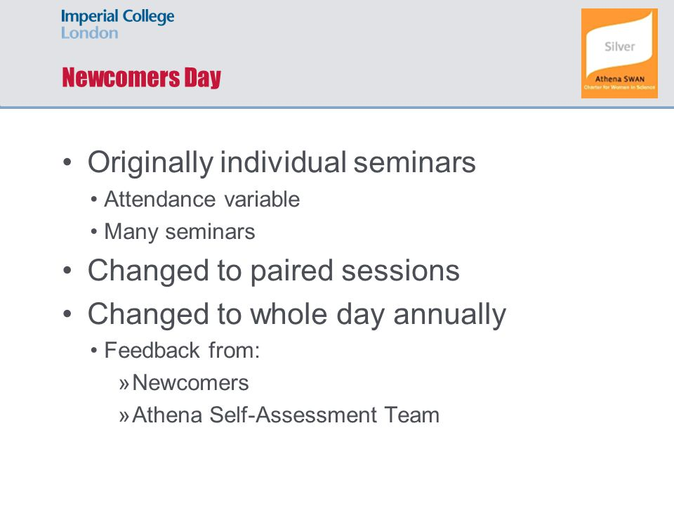 Newcomers Day Originally individual seminars Attendance variable Many seminars Changed to paired sessions Changed to whole day annually Feedback from: »Newcomers »Athena Self-Assessment Team
