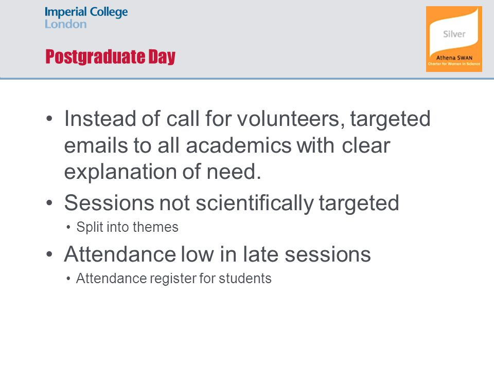 Postgraduate Day Instead of call for volunteers, targeted emails to all academics with clear explanation of need.