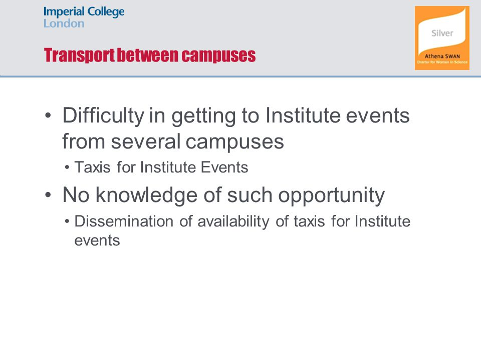Transport between campuses Difficulty in getting to Institute events from several campuses Taxis for Institute Events No knowledge of such opportunity
