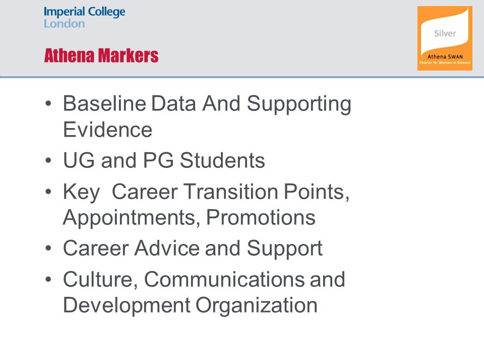 Athena Markers Baseline Data And Supporting Evidence UG and PG Students Key Career Transition Points, Appointments, Promotions Career Advice and Support Culture, Communications and Development Organization