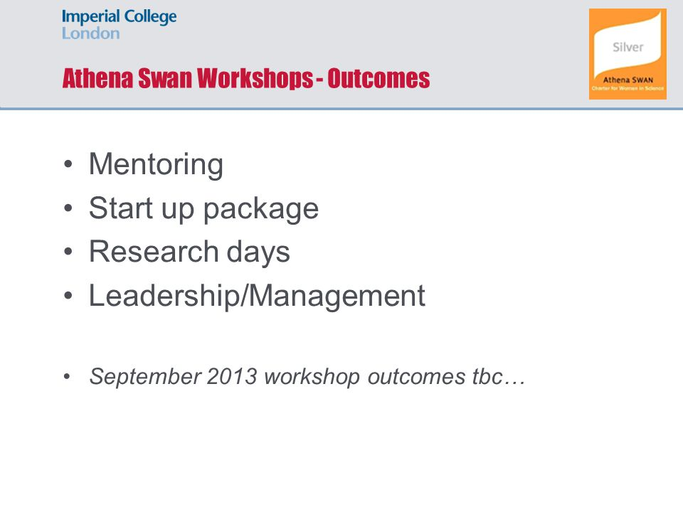 Athena Swan Workshops - Outcomes Mentoring Start up package Research days Leadership/Management September 2013 workshop outcomes tbc…