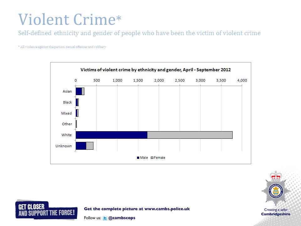 Violent Crime * Self-defined ethnicity and gender of people who have been the victim of violent crime * All violence against the person, sexual offences and robbery