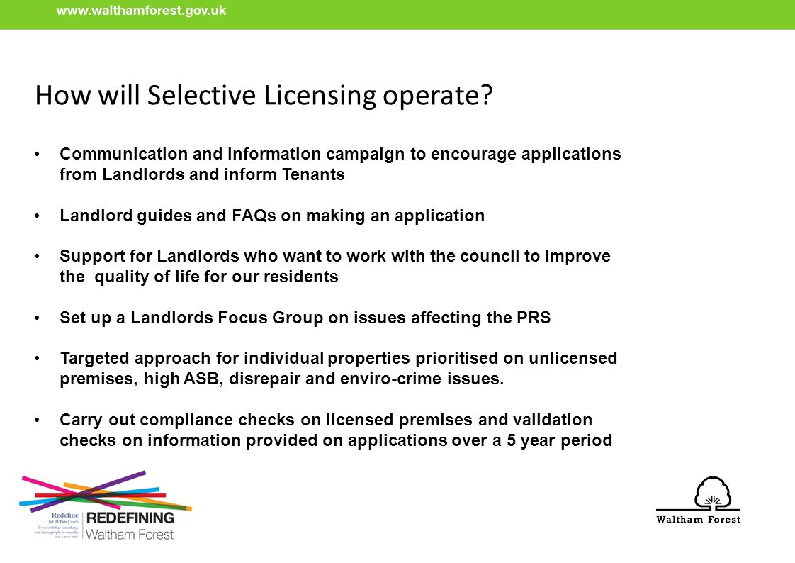 How will Selective Licensing operate.