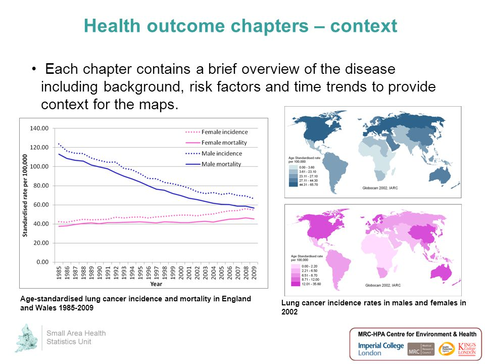Health outcome chapters – context Each chapter contains a brief overview of the disease including background, risk factors and time trends to provide