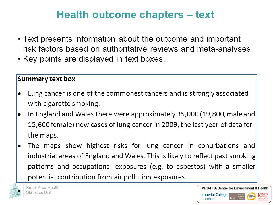 Health outcome chapters – text Text presents information about the outcome and important risk factors based on authoritative reviews and meta-analyses Key points are displayed in text boxes.