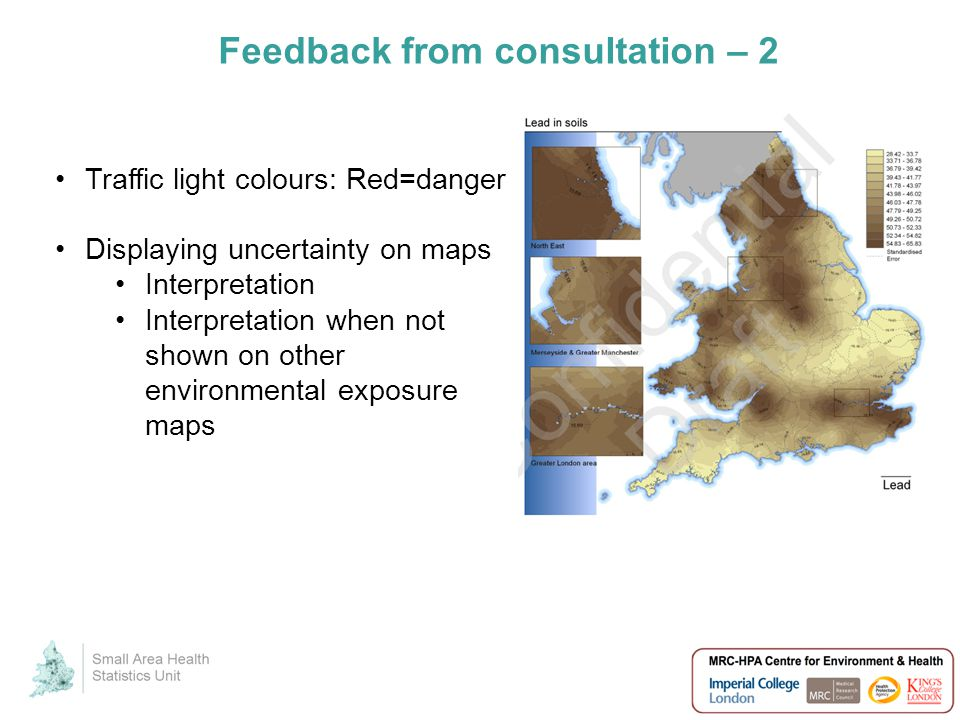 Feedback from consultation – 2 Traffic light colours: Red=danger Displaying uncertainty on maps Interpretation Interpretation when not shown on other