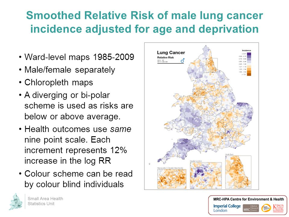 Smoothed Relative Risk of male lung cancer incidence adjusted for age and deprivation Ward-level maps 1985-2009 Male/female separately Chloropleth maps A diverging or bi-polar scheme is used as risks are below or above average.
