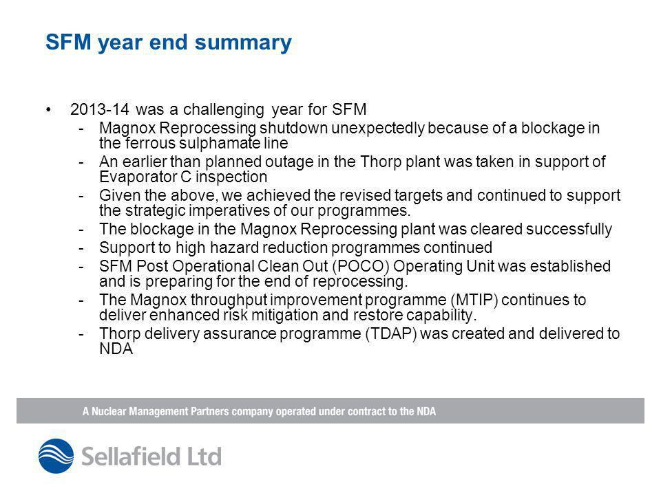 SFM year end summary 2013-14 was a challenging year for SFM -Magnox Reprocessing shutdown unexpectedly because of a blockage in the ferrous sulphamate line -An earlier than planned outage in the Thorp plant was taken in support of Evaporator C inspection -Given the above, we achieved the revised targets and continued to support the strategic imperatives of our programmes.