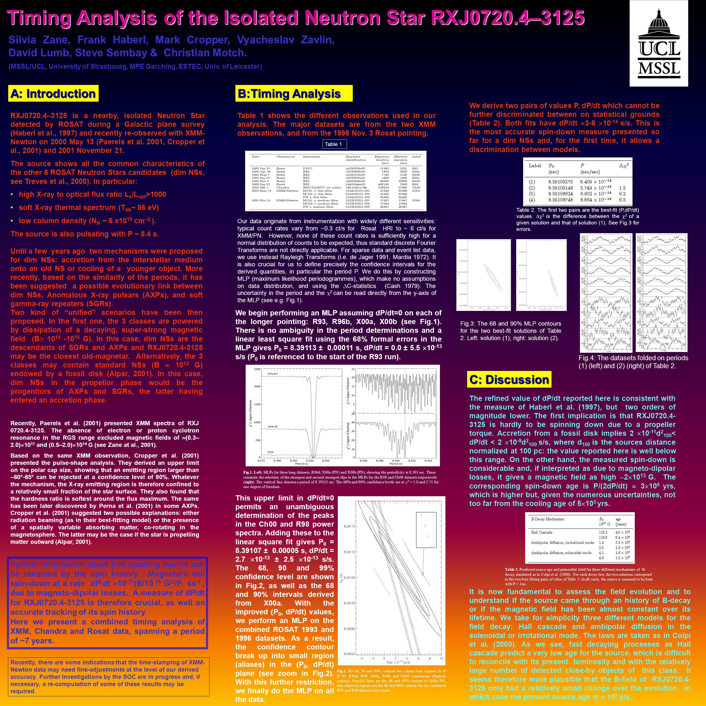 Timing Analysis of the Isolated Neutron Star RXJ0720.4–3125 Silvia Zane, Frank Haberl, Mark Cropper, Vyacheslav Zavlin, David Lumb, Steve Sembay & Christian Motch.