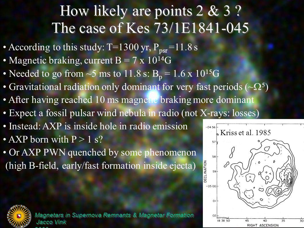 Magnetars in Supernova Remnants & Magnetar Formation Jacco Vink Isolated NSs, London, April, 2006 Magnetars in Supernova Remnants & Magnetar Formation Jacco Vink Isolated NSs, London, April, 2006 How likely are points 2 & 3 .
