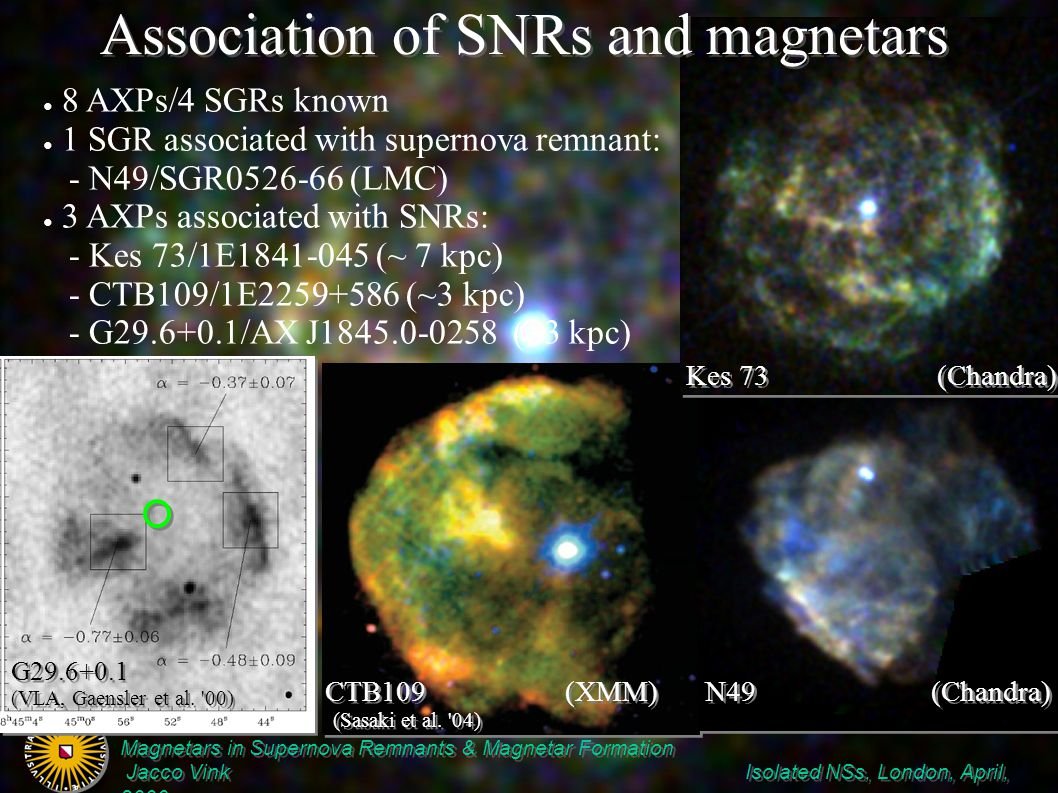 Magnetars in Supernova Remnants & Magnetar Formation Jacco Vink Isolated NSs, London, April, 2006 Magnetars in Supernova Remnants & Magnetar Formation Jacco Vink Isolated NSs, London, April, 2006 How likely are points 2 & 3 .