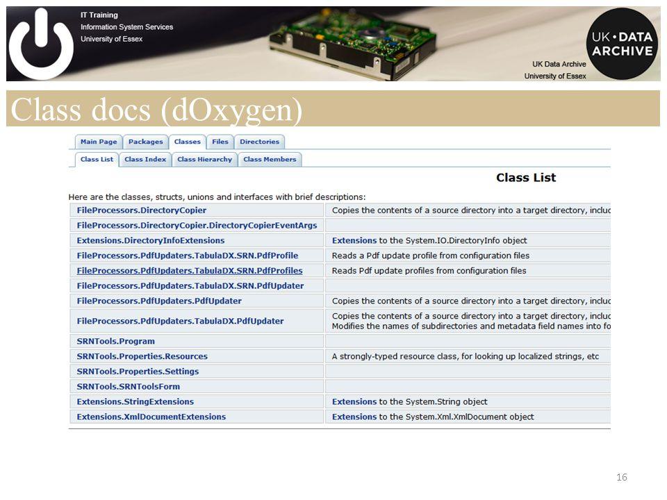Class docs (dOxygen) 16