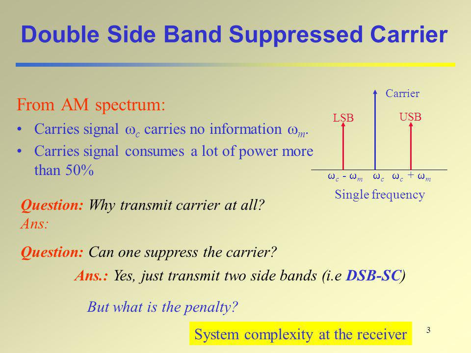 3 Double Side Band Suppressed Carrier From AM spectrum: Carries signal  c carries no information  m. Carries signal consumes a lot of power more tha