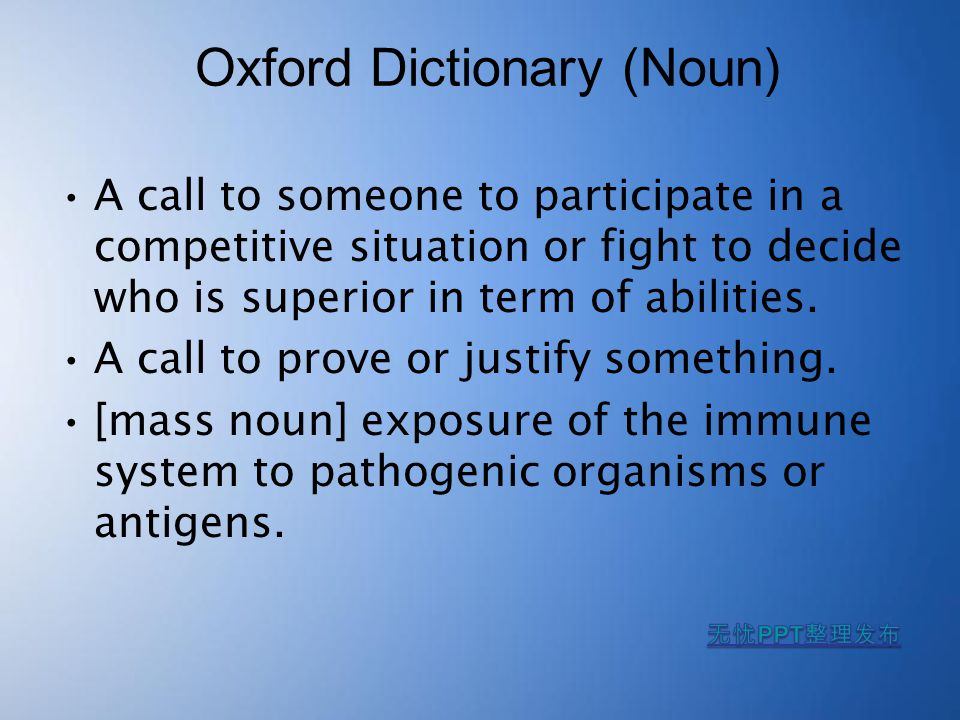 Oxford Dictionary (Verb) Dispute the truth or validity.