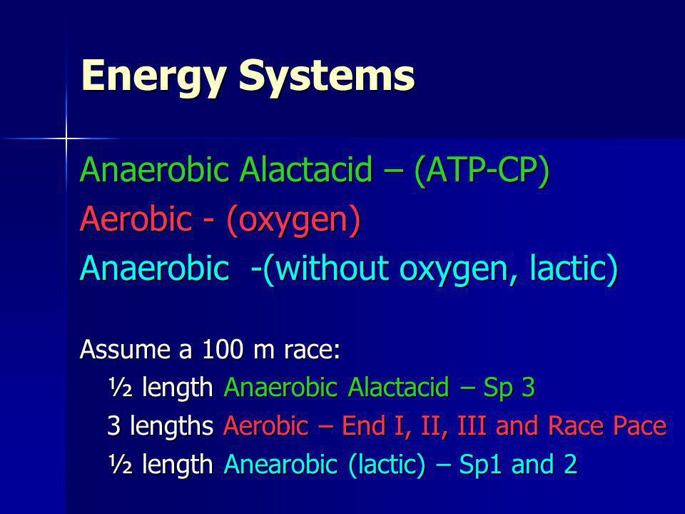 Anaerobic Alactacid – (ATP-CP) Aerobic - (oxygen) Anaerobic -(without oxygen, lactic) Assume a 100 m race: ½ length Anaerobic Alactacid – Sp 3 3 lengt