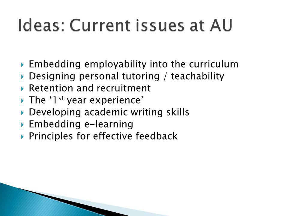  Embedding employability into the curriculum  Designing personal tutoring / teachability  Retention and recruitment  The '1 st year experience'  Developing academic writing skills  Embedding e-learning  Principles for effective feedback
